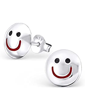 Silvinity 925 Silber Ohrstecker lustig Smiley Ø9mm - runde Ohrringe Stecker silber hochglanz #SV-153