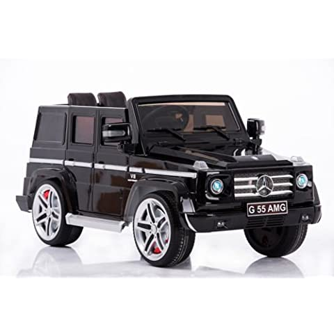 New 2015 Model 12v Ride on Car Mercedes G55 High Doors , Licensed Toy for Kids, Boys and Girls with Music, Lights, Leather Seat, Rubber Tires - Black by Mercedes benz ride on
