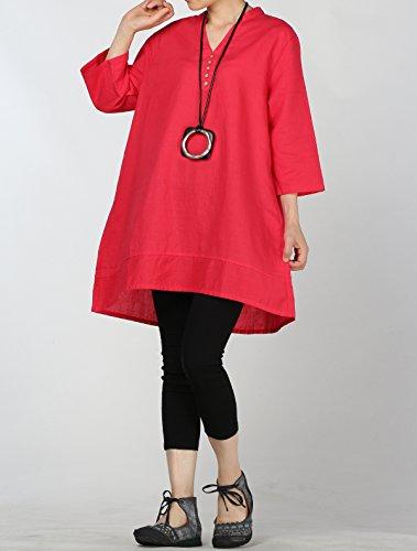 Vogstyle Damen Neue Leinen V-Ausschnitt Unifarben Tunika Pullover Tops Rot