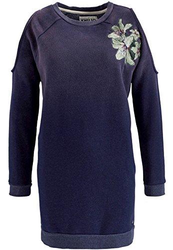 khujo Damen Sweatshirt Lilia Besticktes Sweatshirt-Kleid mit Cut-Outs am Ärmel Floral Dip