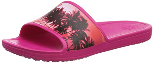 Crocs Sloane Graphic Slide Cpk/Tpl, Pantofole Donna Rosa (Candy Pink/Tropical)