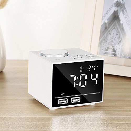 Digital Wecker Radiowecker Bluetooth Nachtlicht Dual-Alarm Lautsprecher Sleep-Timer Aux TF Kartetemperatur 2 Weckzeiten Und USB Ladefunktion,Weiß