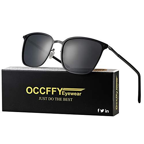 Occffy Polarisierte Herren Damen Sonnenbrille Metall Rahme Ultra Leicht mit UV400 Schutz für Autofahren Angeln Oc0864 (Schwarze Matte Rahmen mit Schwarze Linse)