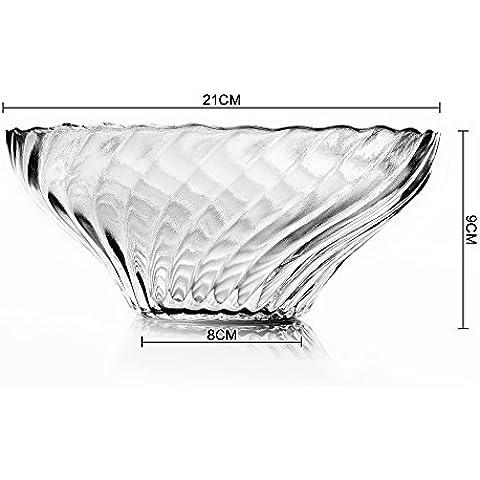 Yifom transparente de vidrio sin plomo tazón de ensalada de fruta, un tazón de sopa