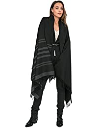 Twill Handwoven Merino Shawl and Oversize Scarf with Stripes 100 X 200cm