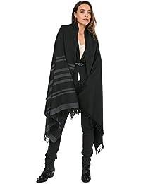 Grande écharpe noir tissé à la main mérinos sergée avec motif rayée 100 ... b027c3b48fc