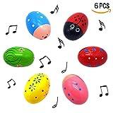 """Gamtec set di 6 pezzi di simpatico motivo percussioni musicali 3 """"in legno di maracas, agitatore per uova, regalo di primavera, confezione regalo, regalo di Pasqua, cestino riempitivo di stuffer"""