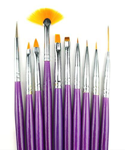 10 tlg. Profi Nail Art Gel Pinsel Set - Lila