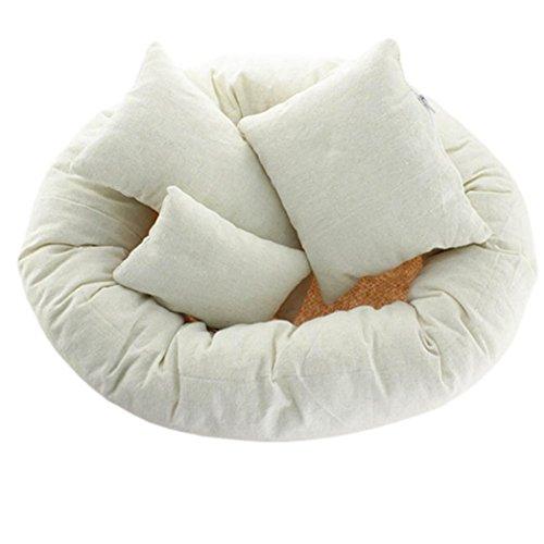 4PCs Longra Nouveau née photographie panier remplissage beignet de blé posant des accessoires oreiller bébé (Beige)