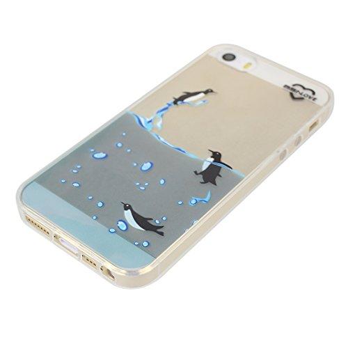 Étui Pour iPhone 5 5S SE, Asnlove Premium Silicone TPU Housse Souple Transparent Coque Antichoc Cas Fine Graphique Cover Ultra Mince Antidérapant Case Pour iPhone 5/5S/SE, Fleur Totem-2 Manchot