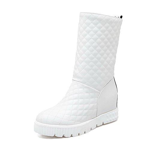 AgooLar Damen Mitte-Spitze Ziehen auf Mittler Absatz Rund Zehe Stiefel, Weiß, 41