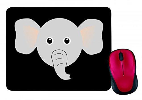"Mauspad \""ELEFANT- STAMM- TIER- AFRIKA- CARTOON- NIEDLICH- OHREN- DUMBO- COMIC- GRAU\"" in Schwarz | Mousepad - Mausmatte - Computer Pad - Mauspad mit Motiv"