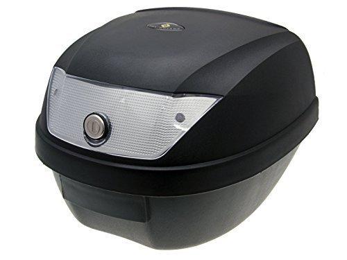 Top Case Koffer schwarz 28L / Reflektor weiàŸ mit Universalhalterung für Roller, Moped, Motorrad