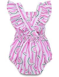 Peleles Bebe Niña Bebé recién Nacido Baby Girls Striped Print Romper Princess Body Vestir Sin Mangas