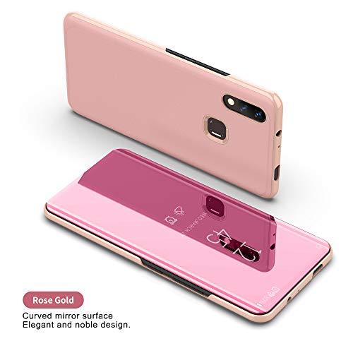 COVO® Xiaomi Mi MAX 3 Funda Espejo Flip Case para Xiaomi Mi MAX 3(Oro Rosa)