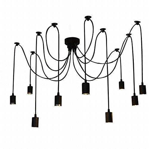 Lixada Lámpara de Techo Araña con 9 Brazos (Cada Uno con Cable 2m) Antiguo Clásico Ajustable Retro DIY Lámpara pendiente para E27 para Salón Comedor Habitación Hotel