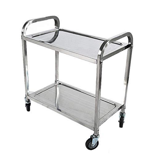 Tcatec carrello da servizio in acciaio INOX cremagliera rotolamento per Hostess Utility pianale da cucina–argento 2 Tiers-95×50×95cm