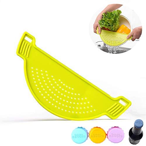 Escurridor de sartén de plástico de alta calidad - Filtro de alimentos para escapar espaguetis, pasta, grasa, verduras, fruta- 3 tapas de silicona reutilizables para botellas - Color aleatorio