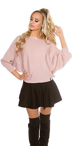 Koucla Damen kurzer Feinstrick Pullover Sweater mit 3/4 langen Fledermaus Ärmeln   Ripp Pulli Cape Poncho   rosa 34 36 38 (Gerippte Poncho)
