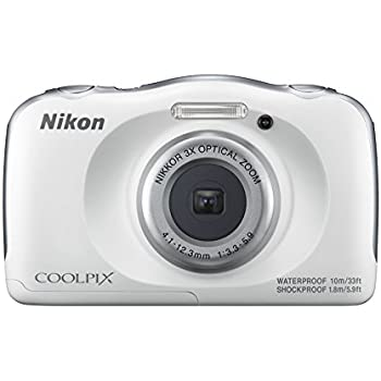Nikon Coolpix W100 13.2 MP Point and Shoot Digital Camera (White) with 3X Optical Zoom, Card and Camera Case