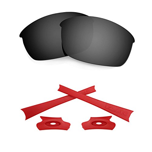 HKUCO For Oakley Flak Jacket Black Polarized Replacement Lenses And Red Earsocks Rubber Kit
