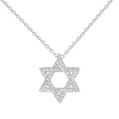 Juif rhodié-Etoile de David-Pendentif cristal blanc strass Transparent