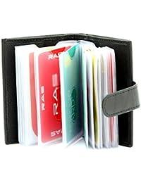 RAS® Véritable étui Souple En Cuir Noir De Titulaire De Carte De Crédit, Ce Portefeuille Avec 20 Manches Carte Amovibles #602