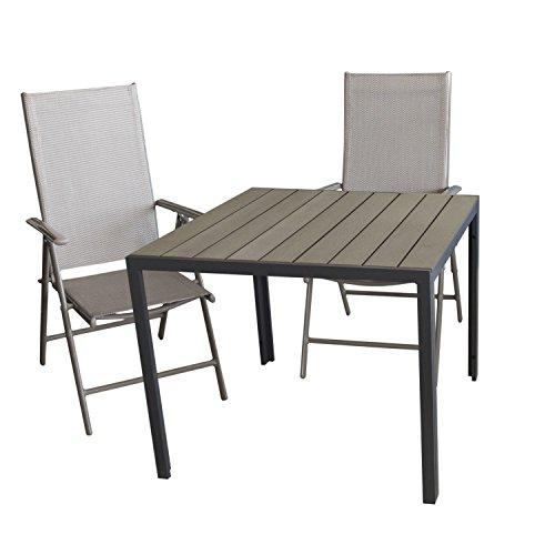Multistore 2002 3tlg. Bistrogarnitur Aluminium Gartentisch mit Polywood Tischplatte 90x90cm + 2X Hochlehner mit 7-Fach Verstellbarer Rückenlehne Textilenbespannung Gartengarnitur