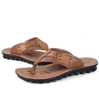 Sandales d'été chaussures d'hommes dehors / Tong en cuir occasionnels Brown / Jaune Brown