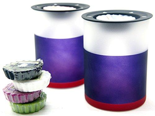 2x Offizielle Yankee Candle Beach House Milchglas Wax Melt Wärmer Brenner inkl. 6x Sortiert Tarts (Wärmer Duftlampe)