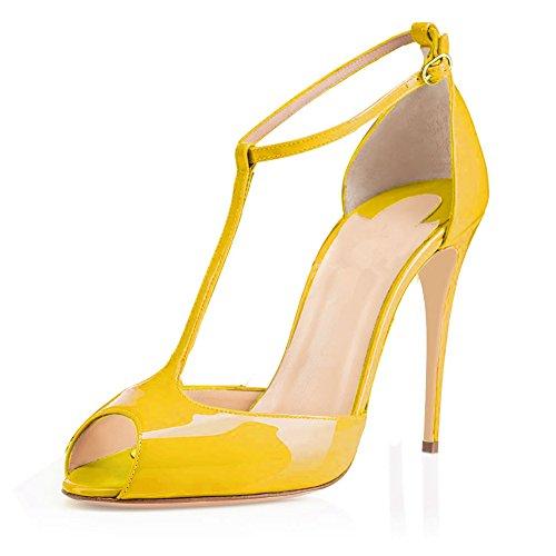 EDEFS Femmes Escarpins Talon Haut Aiguille Bride Cheville Chaussures Bout Ouvert Jaune