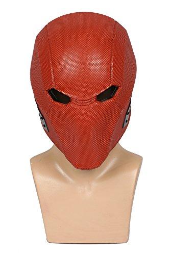 (Wellgift Halloween Red Hood Maske Helm Cosplay Erwachsene Herren Roter Harz voller Kopf Spiel Fancy Dress Kostüm Zubehör)