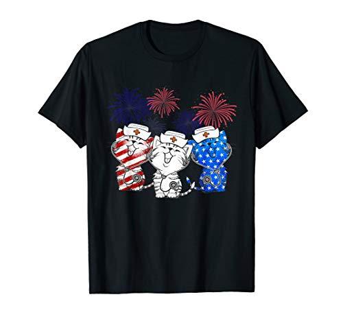 4TH OF JULY HAPPY BIRTHDAY AMERICAN  NURSE LOVE CAT SHIRT T-Shirt
