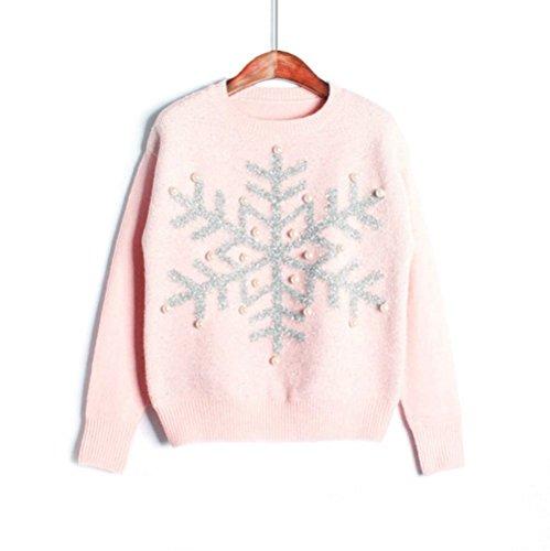 er Perle Straß Pailletten Weiß Schneeflocken Muster Pulli Winter Herbst Sweatshirt (Rosa) (Schneeflocken-pullover)