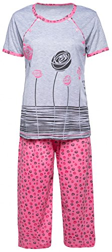 Happy Mama. Damen Umstandspyjama Stillfunktion Gekürzte Hose Top Kurzarm. 076p Licht Rosa