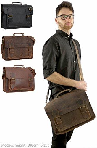 """Gusti Leder studio ''Floyd'' borsa per portatile 15,4"""" MacBook Air 15'' messenger a tracolla funzione zaino college lavoro università vintage marrone 2M1-26-54"""