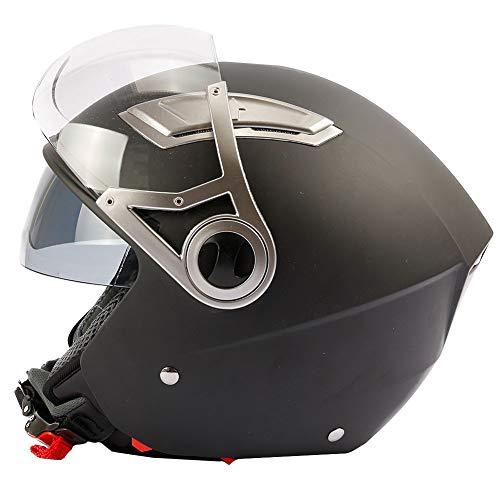 Mach1® Casque jet moto motard Noir Mat - avec double écran solaire - intégré Visier (XS) - (XXL)