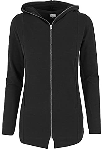 Urban Classics Kapuzenpulli Long Melange Zip Hoody - Sweat-Shirt Femme, Noir (Charcoal) - Small (Taille fabricant: Small)