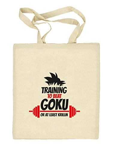 Training To Beat Goku Or At Least Krillin, Natur Stoffbeutel Jute Tasche (ONE SIZE) Natur