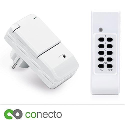 conecto Funksteckdosen Komplett Set Starterkit für Außenbereich IP44 (4-Kanal,...
