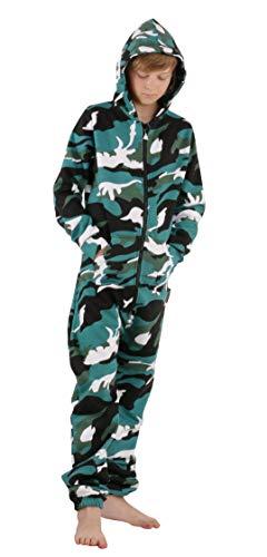 O'Poppy Kinder Jumpsuit einteilig (146-152, camo grün) (Jungen Schlafanzug Camo)