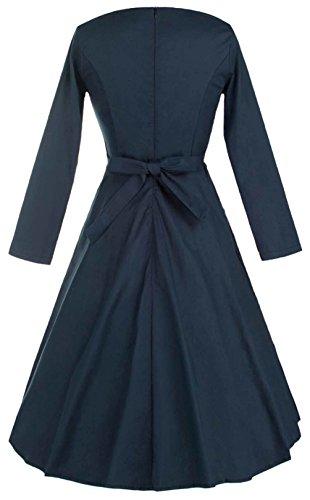 Wenseny Damen Kleid Retro 3/4 Hülsen Knielange Kleid Schwingen Party CocktailKleid Rockabilly Kleider Blau