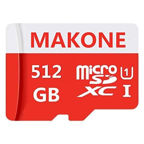 Makone - scheda micro sd da 512 gb, classe 10, con adattatore sd incluso, progettata per smartphone e tablet android