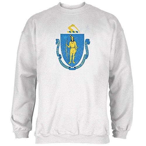 Geboren und angehoben Massachusetts State Flag Mens Sweatshirt Weiß LG (Flag Sweatshirt State)