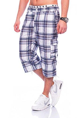 Men cargo shorts | (Casual Fit) Wade Long Bermuda for the summer, 4.3 Cargo Short Leisure Capri Shorts Walkshort with Dehnbund in blue, brown, green and dark blue, plaid | H1465 Max Men