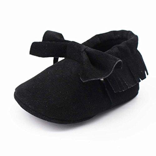 Babyschuhe,Amlaiworld Baby Quasten Bowknot weiche Schuhe weiche Sohlen rutschfeste Schuhe Krippe Schuh Schwarz