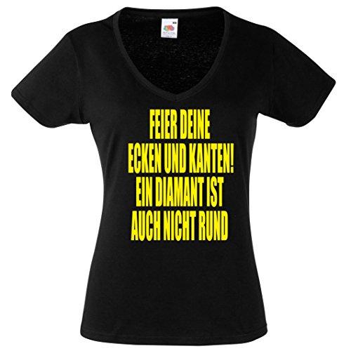 Damen T-Shirt FEIER DEINE ECKEN UND KANTEN! EIN DIAMANT IST AUCH NICHT RUND- V-Shirt Damen Gr. S - XXL SCHWARZ-NEONGELB