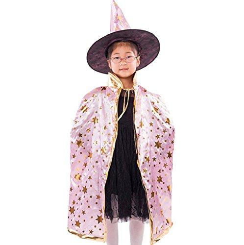 Imagen de halloween costume sannysis disfraz de halloween para niños, wizard traje y sombrero rosa