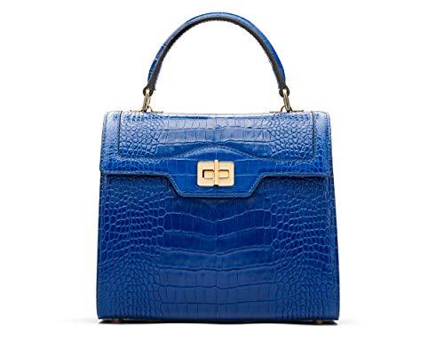 Faux Suede Tote Bag (SageBrown Cobalt Crocodile Morgan Bag)
