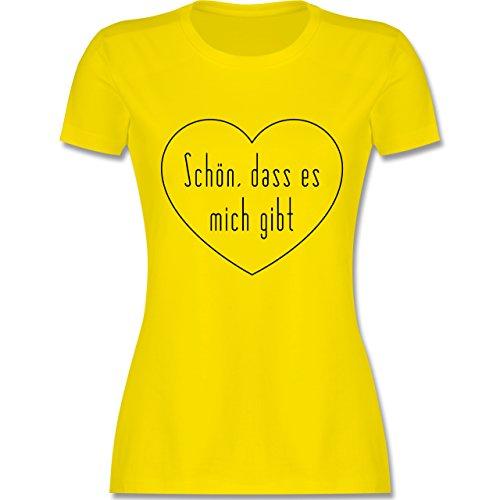 Statement Shirts - Schön, dass es mich gibt - tailliertes Premium T-Shirt mit Rundhalsausschnitt für Damen Lemon Gelb